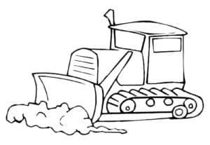 Бульдозер толкает землю