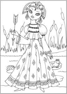 царевна со стрелой детская раскраска