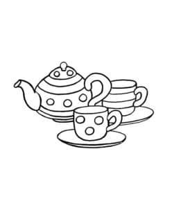 чайник с чашками раскраска