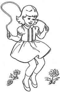 раскраска девочка на скакалке