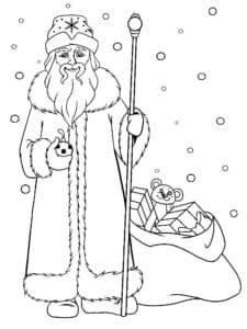 Дед мороз и мешок подарков раскраска