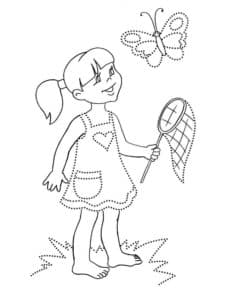 Раскраска девочка по точкам