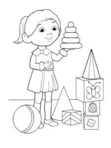 девочка играет в игрушки