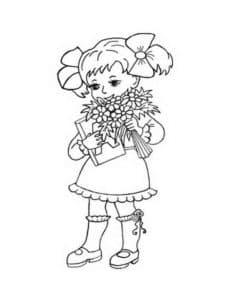 Девочка с книгой и цветами