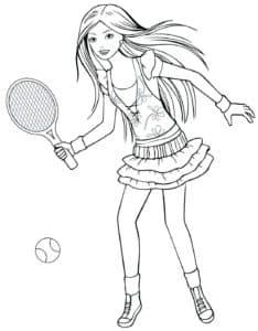 девушка играет в большой теннис