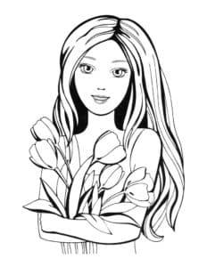 девушка с цветами