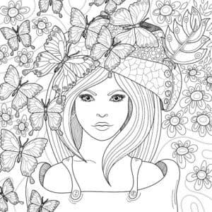 девушка и бабочки антистресс