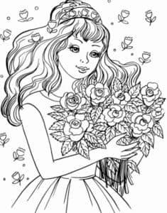 Девушка в платье с цветами
