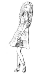девушка в платье с сумочкой