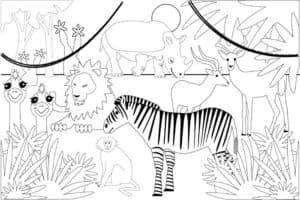 звери в джунглях раскраска