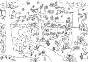 Раскраска детская джунгли