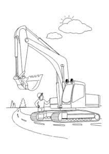 Экскаватор и рабочий