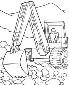 Экскаватор загребает камни