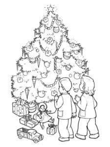 раскраска дети возле елки