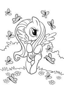 Флаттершай и бабочки раскраска для ребенка