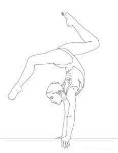 гимнастка стоит на козле