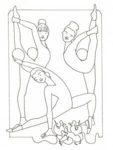 три гимнастки делают упражнения