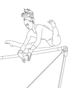 гимнастка прыгает через препятствие