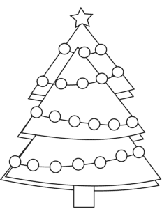 раскраска елка в гирляндах
