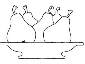 груши в тарелке