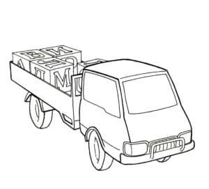 грузовик везет кубики с буквами