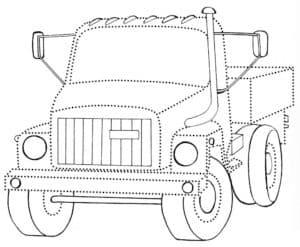 грузовик раскраска по точкам