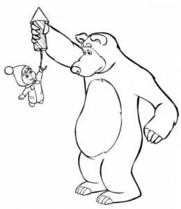 маша и медведь с салютом