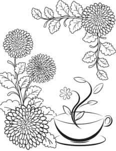 Хризантемы и чашка
