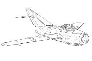 Раскраска военный истребитель