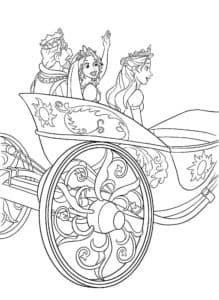 принцессы и король на карете