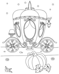 карета и тыква раскраска для ребенка