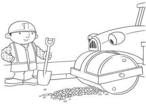 Дорожный каток и рабочий с лопатой