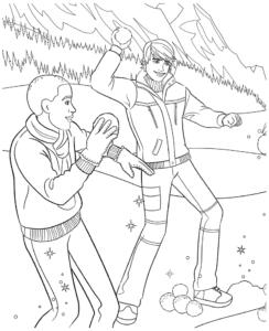 кен играет в снежки