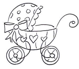 коляска с кружочками и сердечками