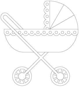 коляска с кружочками детская раскраска
