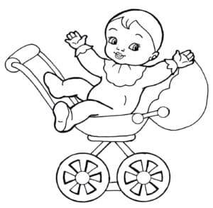 ребенок на детской коляске