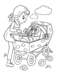 девочка и зайчик в коляске