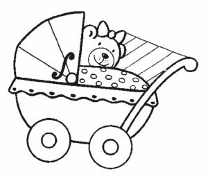медведь с бантиком в детской коляске