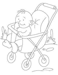 младенец в коляске раскраска детская