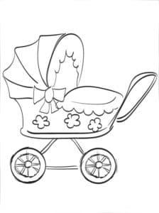 коляска с цветочками раскраска для ребенка