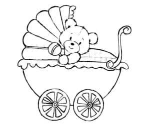 медвежонок на коляске раскраска для детей