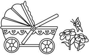 коляска и цветы с бабочкой