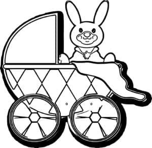 веселый зайчик в коляске