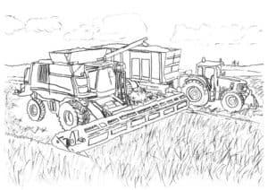 Комбайн и трактор на поле