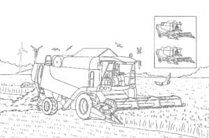 Комбайн собирает урожай