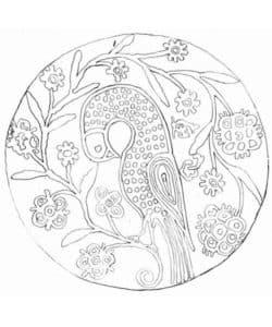 круг с птицей и цветами