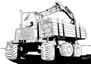 Трактор с прицепом везет деревья