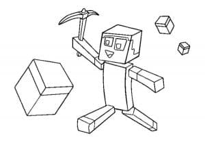 Майнкрафт человек с киркой и кубик