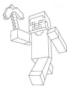 Персонаж майнкрафт с киркой раскраска