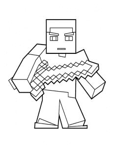 Майнкрафт человек с мечом детская раскраска